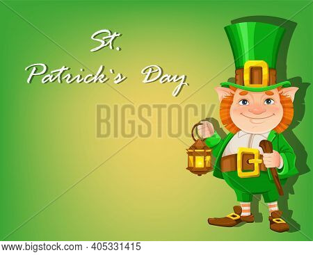Stock Vector Leprechaun. Happy St Patrick's Day Greeting Card On Green Background. Cheerful Leprecha