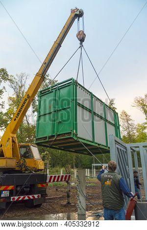Great One-horned Rhinoceros Rhinoceros Unicornis Transport To Szeged Zoo