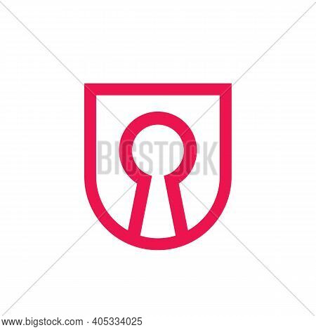 Abstract Keyhole Logo Icon Design, Linear Style Symbol, Vector Illsutration