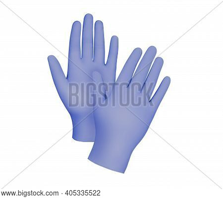 Medical gloves.Two blue surgical gloves isolated on white background with hands. Rubber glove manufa