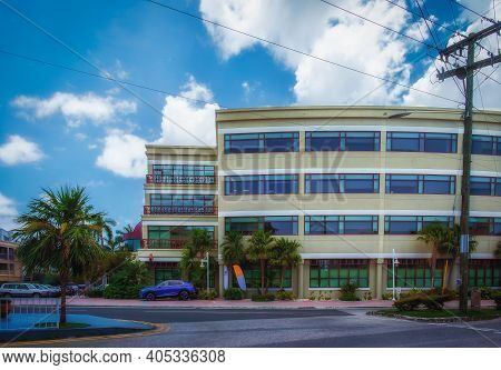 Grand Cayman, Cayman Islands, July 2020, View Of The Side Of George Town Cibc Firstcaribbean Bank Bu