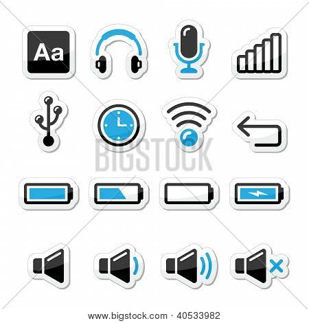 Electronic device / Computer software icons set as labels