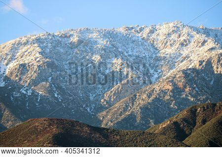 Rugged Snow Covered Mountains Taken At Ontario Peak In The Rural San Gabriel Mountains, Ca