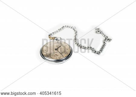 Old Chain Pocket Watch On White Background