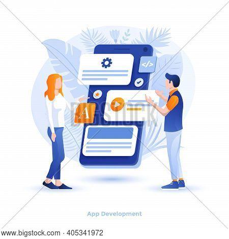 Vector Illustration Of App Development Design. Usable For Banner, Poster, Background, Web, Presentat