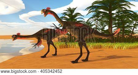 Gigantoraptor Dinosaur Lakeshore 3d Illustration - Gigantoraptor Theropod Dinosaurs Come Down To A L