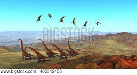 Giraffatitan Dinosaurs 3d Illustration - A Herd Of Giraffatitan Dinosaurs Walk On Their Yearly Migra