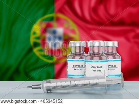 Concept Covid-19 Immunization Vaccine In Portugal, A Disease Caused By The Sars-cov-2 Coronavirus. S