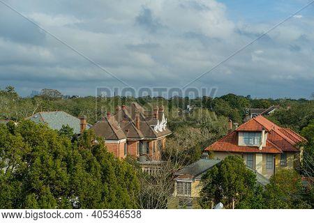 New Orleans, La - January 24: Rooftops Of Uptown Houses Near Loyola University On January 24, 2021 I