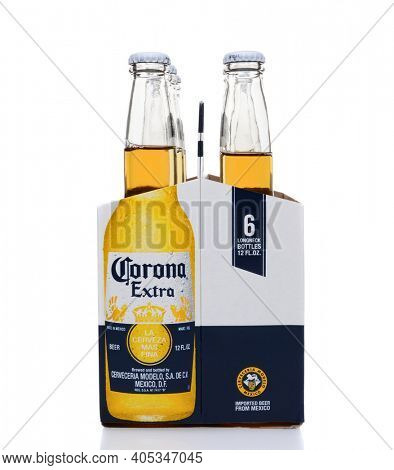 IRVINE, CA - MAY 25, 2014: A 6 pack of Corona Extra Beer, end view. Corona is the most popular imported beer in the United States.