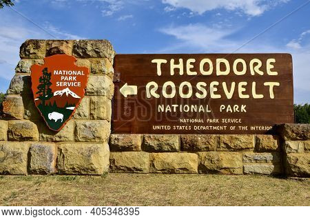 Medora, North Dakota, August 17, 2020: Named After The President, Theodore Roosevelt National Park L