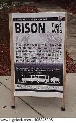 Medora, North Dakota, August 17, 2020:the National Park Service Provides Information About Wild Buff