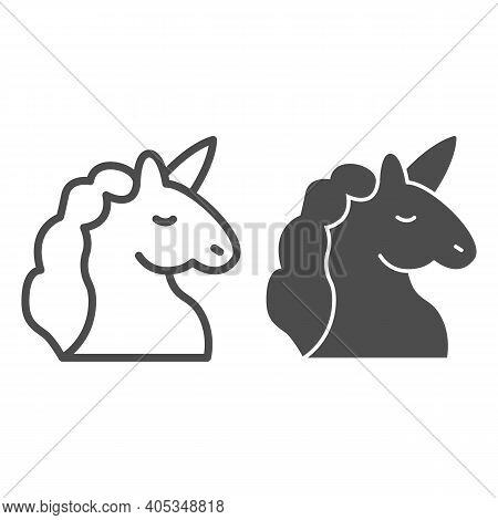 Unicorn Line And Solid Icon, Fairytale Concept, Unicorn Head Silhouette Sign On White Background, My