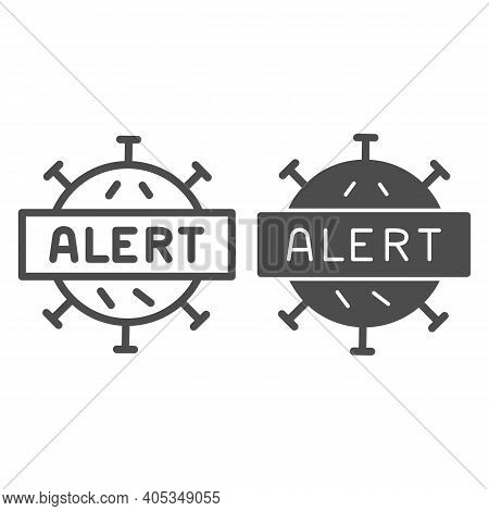 Alert About Viral Activity Line And Solid Icon, Corona Downturn Concept, Sign Symbol Quarantine Zone