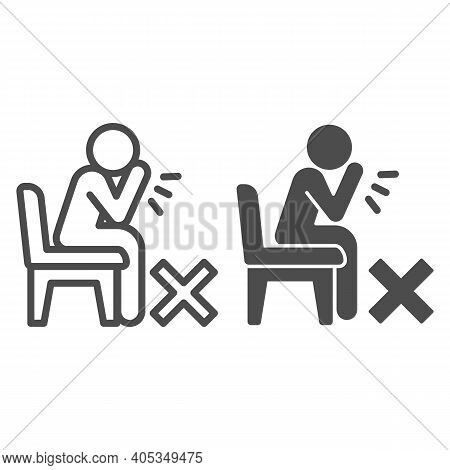 Sick Person Sitting And Coughing Line And Solid Icon, Corona Downturn Concept, Prohibition Of Coughi