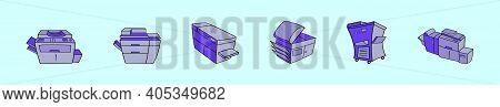 Set Of Photocopier Cartoon Icon Design Template