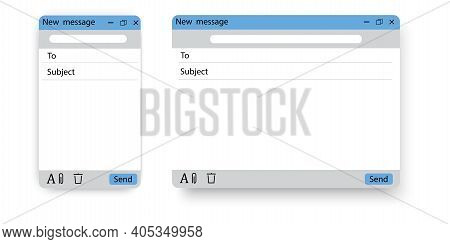 New Message Screen. Email Interface. Social Media Vector Illustration. Social Icon. Stock Image. Eps
