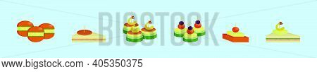 Set Of Appetizers Cartoon Icon Design Template With Various Models. Modern Vector Illustration Isola