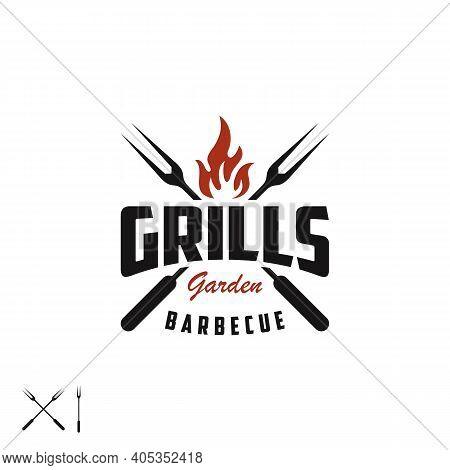 Retro Vintage Grill With Crossed Fork And Fire Flame For Barbeque Barbecue Bbq Logo Design