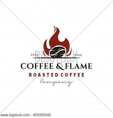 Rustic Vintage Coffee Bean Roaster With Fire Flame Logo Design Inspiration