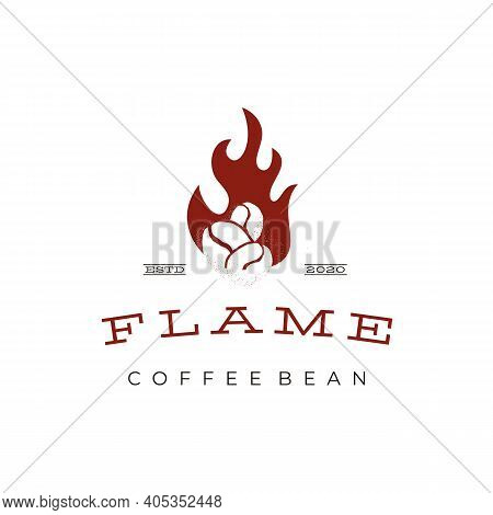 Vintage Rustic Coffee Bean Roaster With Fire Flame Logo Design