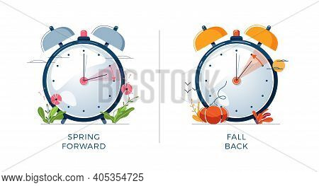 Daylight Saving Time Concept. Set Of Alarm Clocks, Text Fall Back, Spring Forward. Landscapes Collec