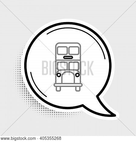 Line Double Decker Bus Icon Isolated On Grey Background. London Classic Passenger Bus. Public Transp