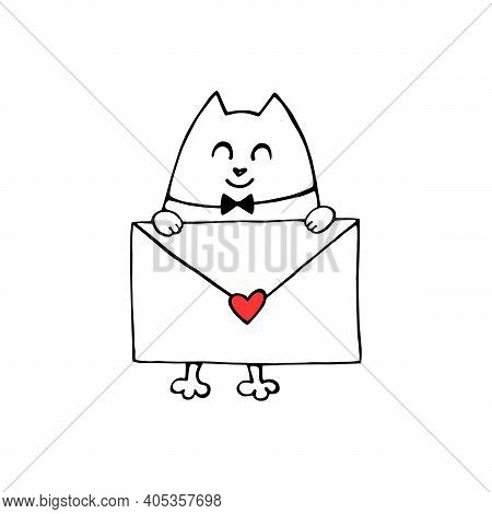 Vector Cute Contour Cat With Love Letter. Hand Drawn Doodle. Simple Design Element For Greeting Card