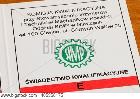 Pruszcz Gdanski, Poland - January 25, 2021: Detail Of E Qualification Certificate For Electricians O