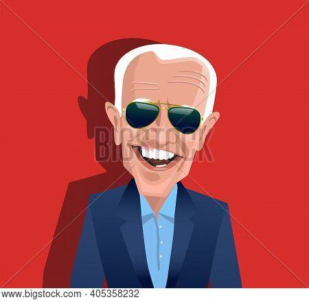 Asheville, Nc, United States, January 28, 2021. Cartoon Caricature Of Joe Biden, President Of The Un