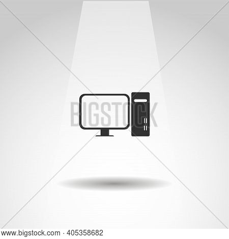 Computer Icon. Pc Vector Icon, Computer Simple Isolated Icon