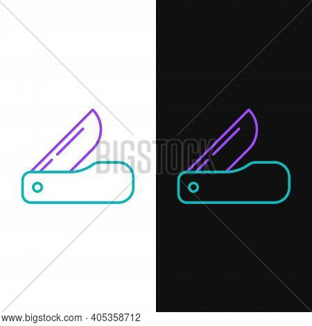 Line Swiss Army Knife Icon Isolated On White And Black Background. Multi-tool, Multipurpose Penknife