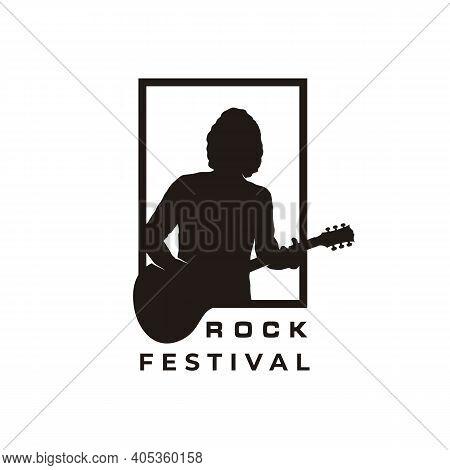 Silhouette Guitarist, Music Rock Singer Guitar Player Classic Logo Design Inspiration