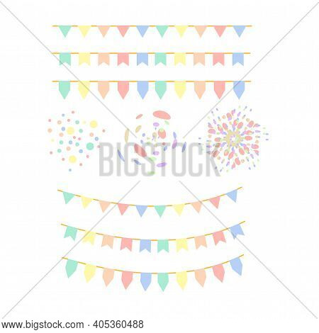 Set Of Colorful Pastel Flags, Garland, And Confetti Pattern On White Background. Multicolored Festiv