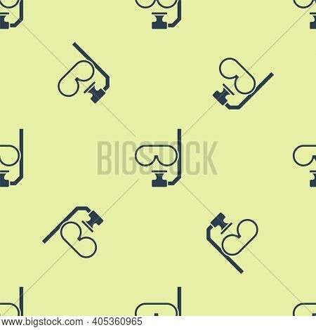 Blue Diving Mask And Snorkel Icon Isolated Seamless Pattern On Yellow Background. Extreme Sport. Div