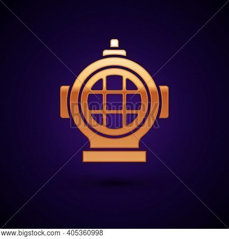Gold Aqualung Icon Isolated On Black Background. Diving Helmet. Diving Underwater Equipment. Vector