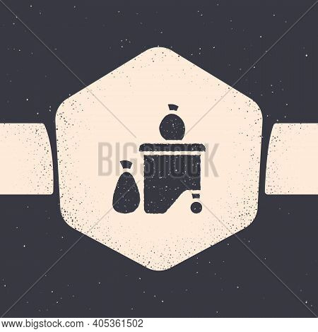 Grunge Dumpsters Being Full With Garbage Icon Isolated On Grey Background. Garbage Is Pile Lots Dump