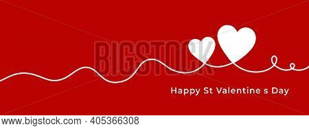 Happy Valentine's Day Horizontal Banner With Line Hearts. Vector Illustration Greeting Cards Or Invi