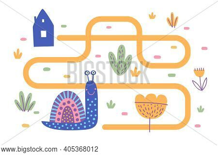 Cute Snail And Tracing Line. A Blue Snail In A Childish Style Is Looking For A Way Home. An Animal O