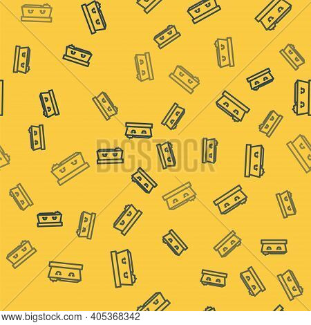 Blue Line Open Coffin With Dead Deceased Body Icon Isolated Seamless Pattern On Yellow Background. F