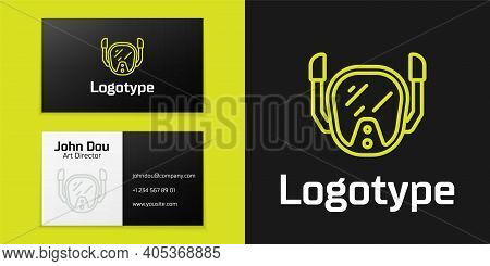 Logotype Line Diving Mask Icon Isolated On Black Background. Extreme Sport. Diving Underwater Equipm