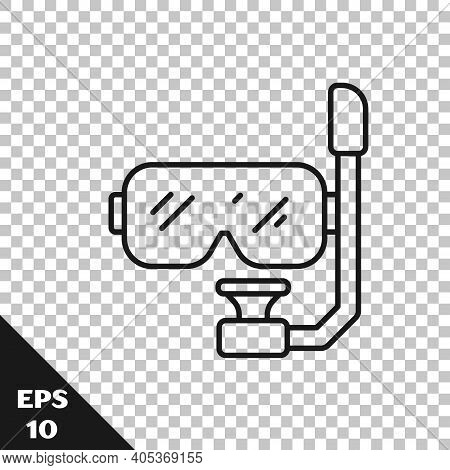 Black Line Diving Mask And Snorkel Icon Isolated On Transparent Background. Extreme Sport. Diving Un