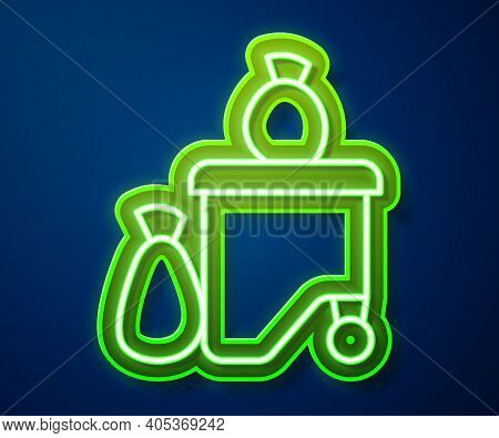 Glowing Neon Line Dumpsters Being Full With Garbage Icon Isolated On Blue Background. Garbage Is Pil