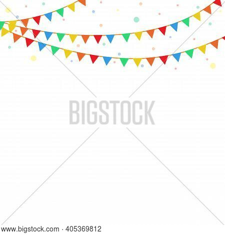 Colorful Festival Flags, Garland, And Confetti Pattern On White Background. Multi-colored Bunting De