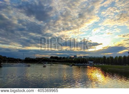 Landscape Of The Reservoir. Recreation And Entertainment Area. Beautiful Panorama Of Clouds In The S