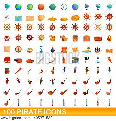 100 Pirate Icons Set. Cartoon Illustration Of 100 Pirate Icons Vector Set Isolated On White Backgrou