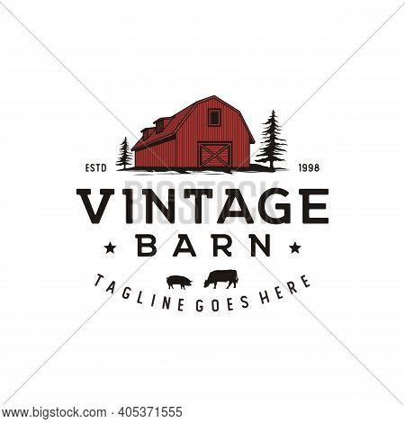 Vintage Retro Rustic Barn Logo Design Illustration
