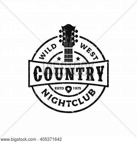 Classic Country Music Logo, Guitar Vintage Retro Logo Design