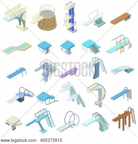 Diving Board Icons Set. Isometric Set Of Diving Board Vector Icons For Web Design Isolated On White