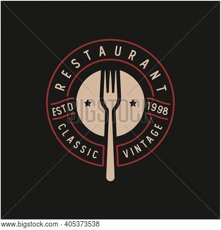 Spoon Fork For Restaurant Bar Bistro Vintage Retro Stamp Badge Logo Design Vector